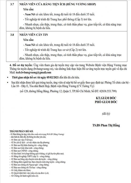 Bệnh viện Hùng Vương tuyển dụng nhân sự tháng 2/2021