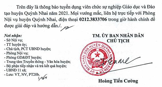 UBND huyện Quỳnh Nhai, Sơn La tuyển dụng giáo viên và nhân viên trường học năm 2021