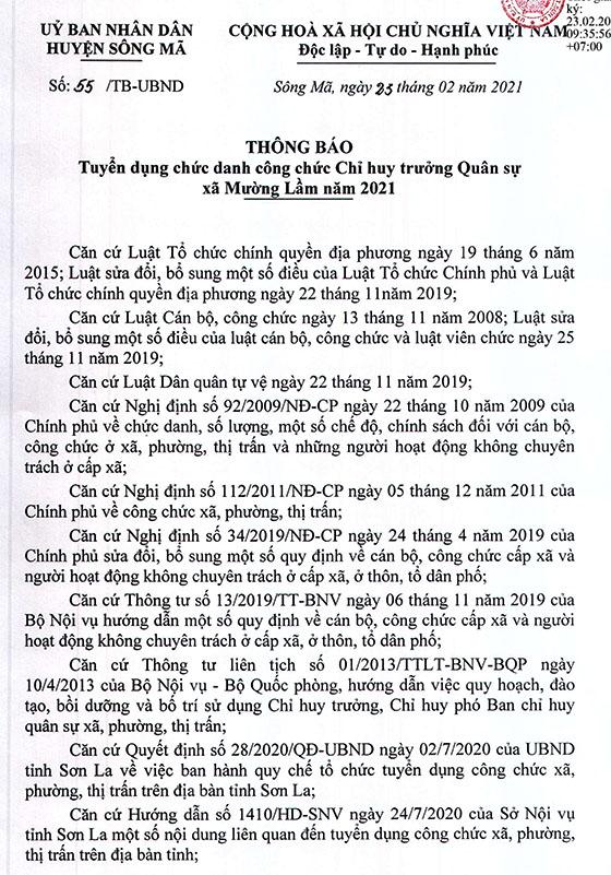 UBND huyện Sông Mã, Sơn La tuyển dụng Chỉ huy trưởng BCHQS xã năm 2021