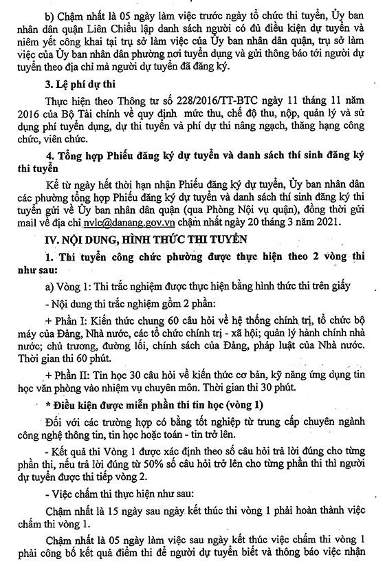 UBND quận Liên Chiểu, TP. Đà Nẵng tuyển dụng công chức cấp phường năm 2021