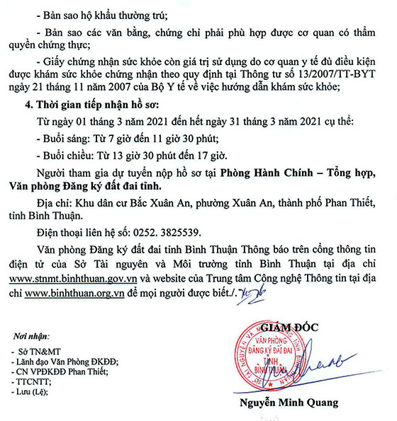 VP đăng ký đất đai tỉnh Bình Thuận tuyển dụng LĐHĐ năm 2021