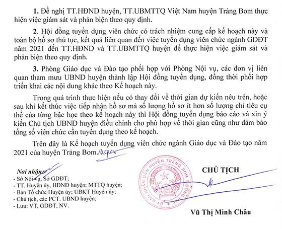 UBND huyện Trảng Bom, Đồng Nai tuyển dụng giáo viên và nhân viên trường học năm 2021