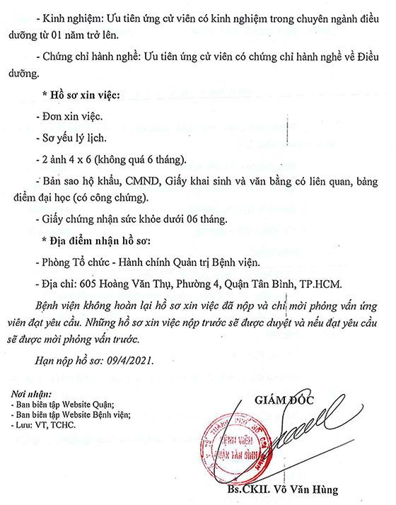 Bệnh viện Quận Tân Bình, TP. Hồ Chí Minh tuyển dụng nhân sự năm 2021