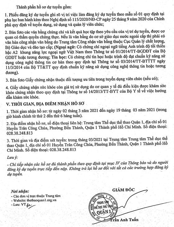 TT Thể dục thể thao Quận 1, TP.Hồ Chí Minh tuyển dụng viên chức năm 2021
