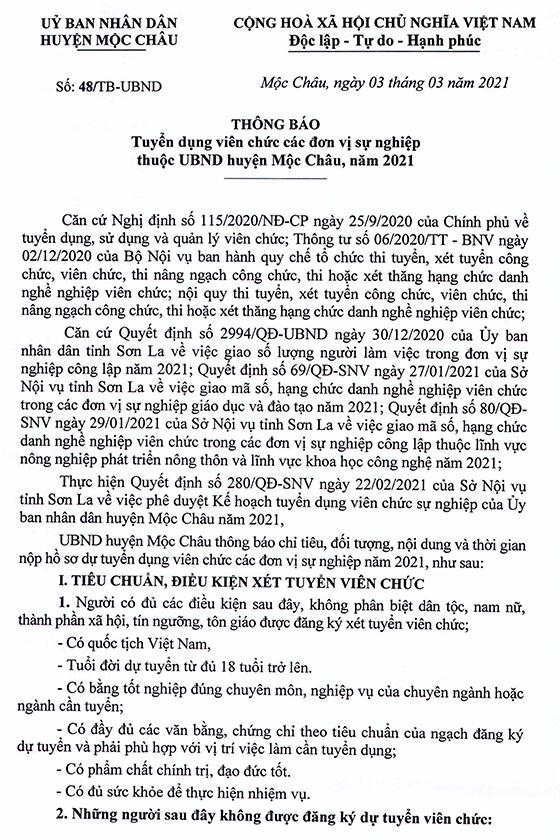 UBND huyện Mộc Châu, Sơn La tuyển dụng viên chức các đơn vị sự nghiệp năm 2021