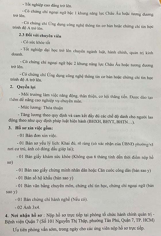 Bệnh viện Quận 7, TP. Hồ Chí Minh tuyển dụng nhân sự năm 2021