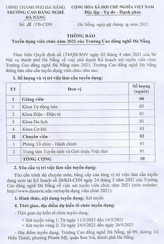 Trường Cao đẳng nghề Đà Nẵng tuyển dụng viên chức năm 2021