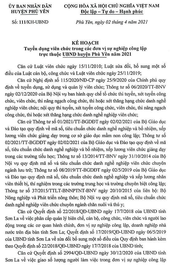 UBND huyện Phù Yên, Sơn La tuyển dụng viên chức các đơn vị sự nghiệp công lập năm 2021