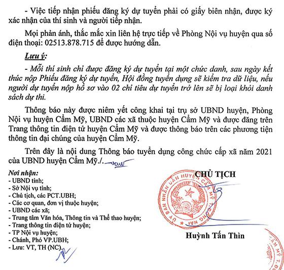 UBND huyện Cẩm Mỹ, Đồng Nai tuyển dụng công chức cấp xã năm 2021