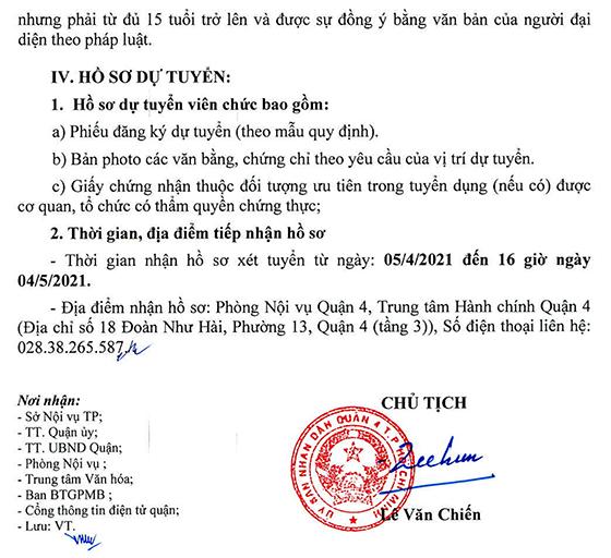 UBND Quận 4, TP. Hồ Chí Minh tuyển dụng viên chức năm 2021