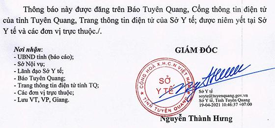 Sở Y tế tỉnh Tuyên Quang tiếp nhận viên chức Kỹ thuật Y hạng IV 6 tháng cuối năm 2020