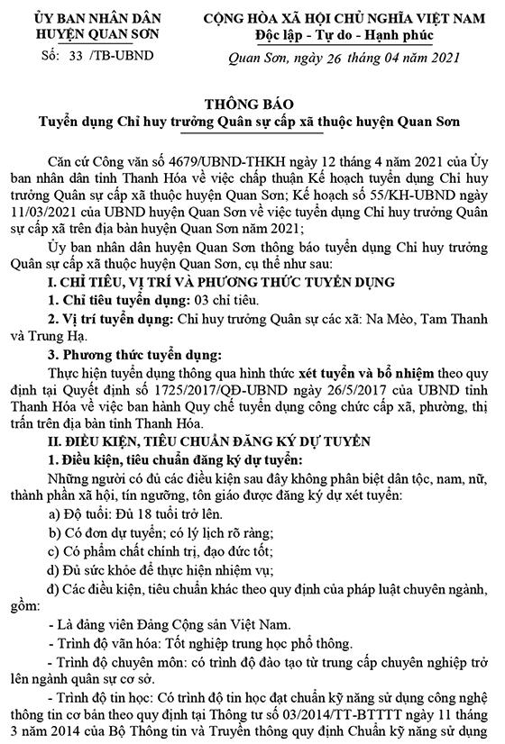 UBND huyện Quan Sơn, Thanh Hóa tuyển dụng CHT Quân sự cấp xã năm 2021