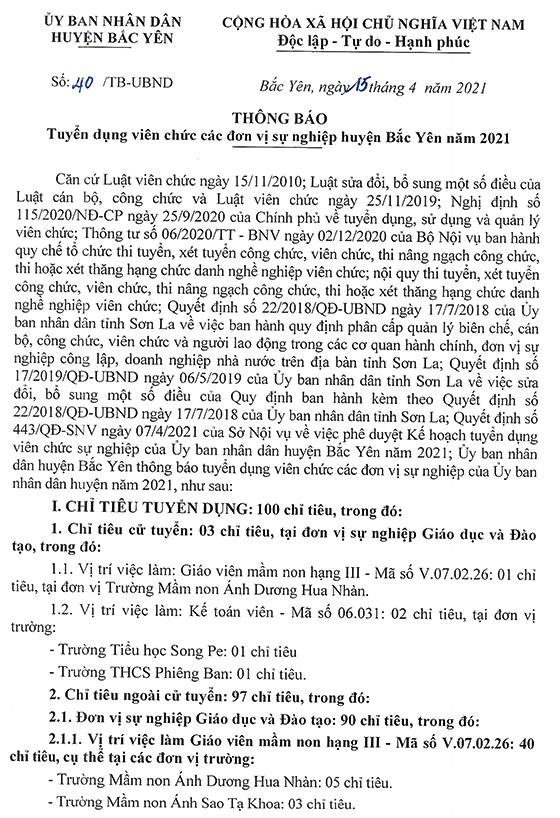 UBND huyện Bắc Yên, Sơn La tuyển dụng viên chức năm 2021
