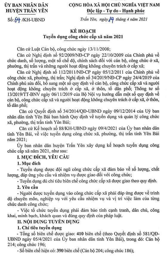 UBND huyện Trấn Yên, Yên Bái tuyển dụng công chức cấp xã năm 2021