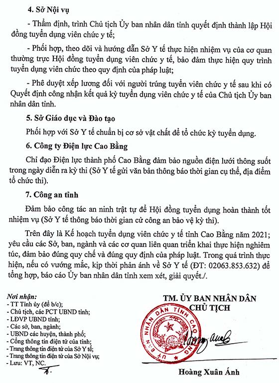 UBND tỉnh Cao Bằng tuyển dụng viên chức y tế năm 2021