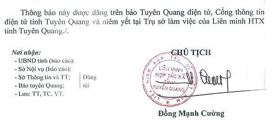 Liên minh Hợp tác xã tỉnh Tuyên Quang tiếp nhận viên chức 6 tháng cuối năm 2020