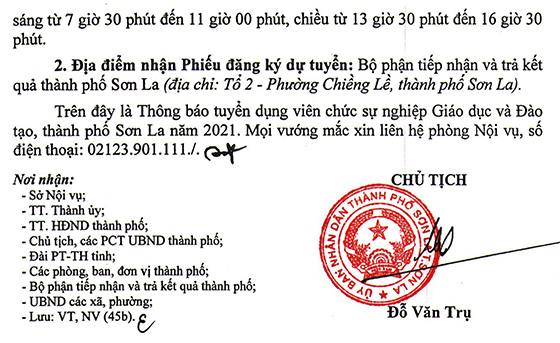 UBND TP. Sơn La, tỉnh Sơn La tuyển dụng giáo viên mầm non năm 2021