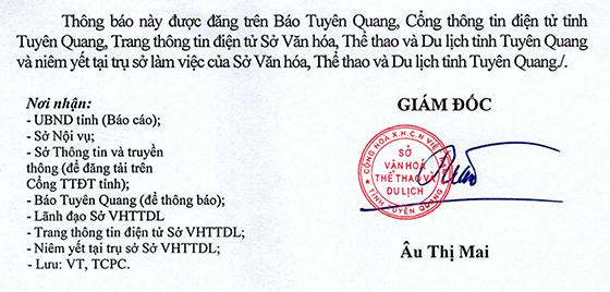 Sở Văn hóa, Thể thao và Du lịch tỉnh Tuyên Quang tiếp nhận công chức, viên chức 6 tháng cuối năm 2020