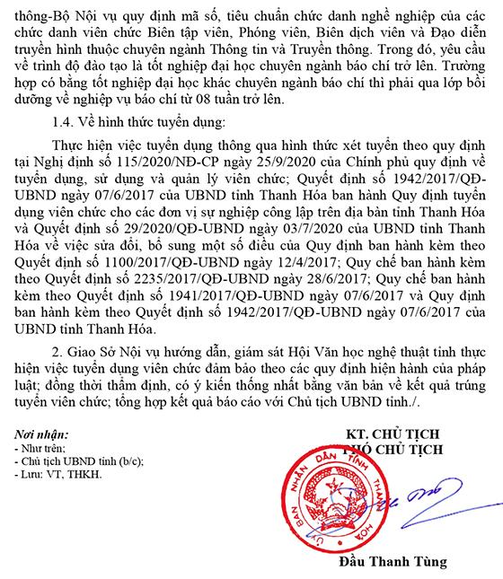 Hội Văn học nghệ thuật tỉnh Thanh Hóa tuyển dụng viên chức năm 2021