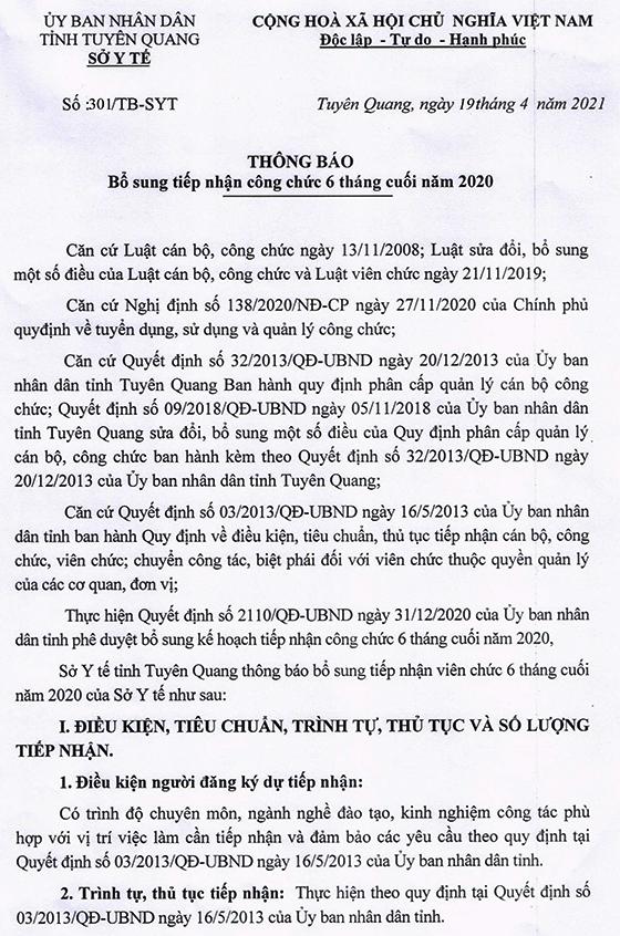 Sở Y tế tỉnh Tuyên Quang tiếp nhận viên chức Kế toán viên 6 tháng cuối năm 2020