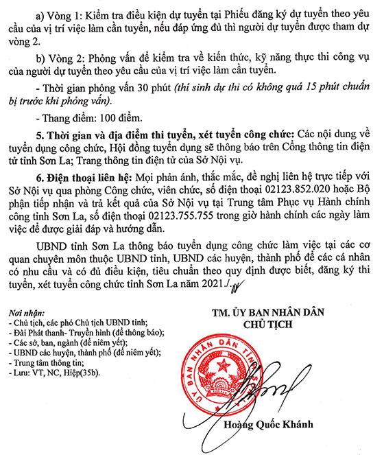 UBND tỉnh Sơn La tuyển dụng công chức cấp tỉnh, huyện, thành phố năm 2021