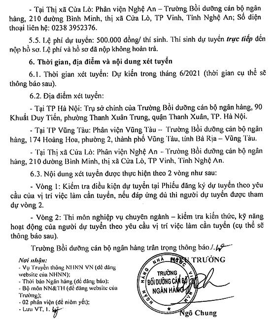 Trường Bồi dưỡng cán bộ Ngân hàng – Ngân hàng Nhà nước Việt Nam tuyển dụng viên chức năm 2021