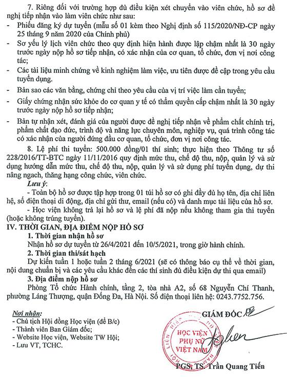 Học viện Phụ nữ Việt Nam thông báo tuyển dụng nhân sự năm 2021