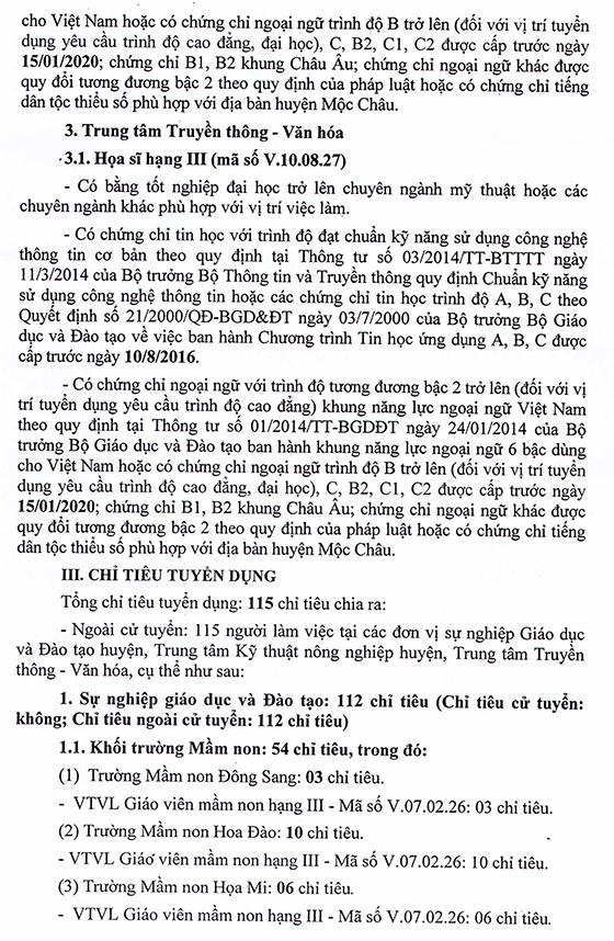 UBND huyện Mộc Châu, Sơn La tuyển dụng viên chức năm 2021